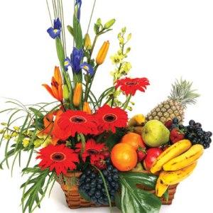 Meyva ve çiçeklerden olusmus hediye sepeti  Gölbaşı çiçek kaliteli taze ve ucuz çiçekler