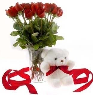 Ankara Gölbaşı hediye sevgilime hediye çiçek  8 adet kirmizi gül ve pelus ayicik  Ankara çiçekçi Gölbaşı İnternetten çiçek siparişi