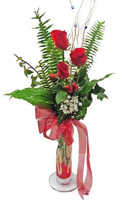 Çiçek gönderin cam vazoda 3 gül çiçekleri  Gölbaşı çiçekçi güvenli kaliteli hızlı çiçek