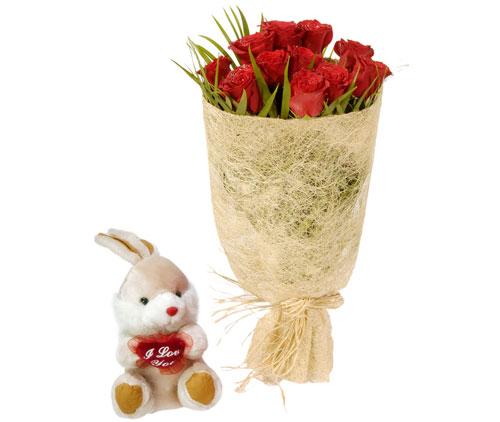 10 adet kirmizi gül ve küçük pelus oyuncak  Ankara Gölbaşı çiçek gönderme