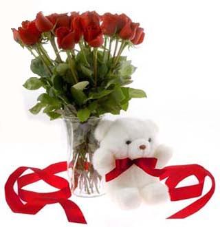 Gölbaşı ankara çiçek gönderme sitemiz güvenlidir  12 adet kirmizi gül ve pelus ayicik