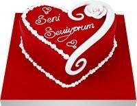 Ankaradaki çiçekçiler Gölbaşı cicek , cicekci  Seni seviyorum yazili kalp yas pasta