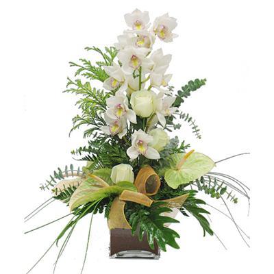 Dal orkide ve sade renk çiçekler vazosu