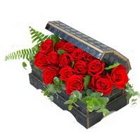 Sandik içerisinde 21 adet kirmizi gül  Gölbaşı çiçekçi güvenli kaliteli hızlı çiçek