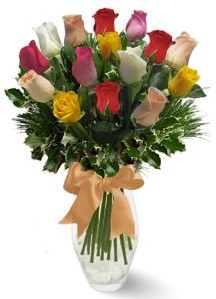 15 adet vazoda renkli gül  Gölbaşı çiçek siparişi yurtiçi ve yurtdışı çiçek siparişi
