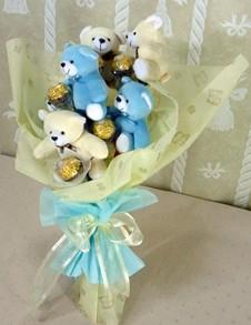 6 adet ayiciktan buket tanzimi  Ankara Gölbaşı çiçek gönderme