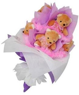 9 adet ayiciktan buket  Gölbaşı ucuz çiçek gönder