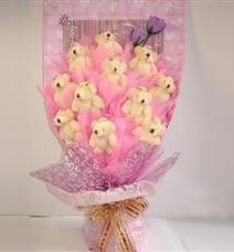 11 adet pelus ayicik buketi  Ankara Gölbaşı çiçekçi uluslararası çiçek gönderme