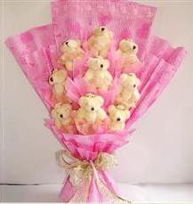 9 adet pelus ayicik buketi  Gölbaşına çiçek , çiçekçi , çiçekçilik