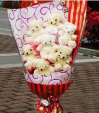 11 adet pelus ayicik buketi  Gölbaşı ankara çiçek servisi , çiçekçi adresleri