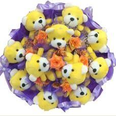 11 adet pelus ayicik buketi  Gölbaşı çiçekçiler  çiçek siparişi sitesi