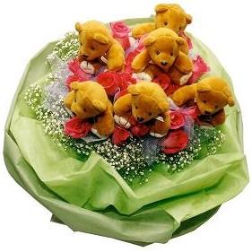 6 adet pelus ayicik 12 adet yapay gül buketi  Ankara çiçekçi Gölbaşı İnternetten çiçek siparişi