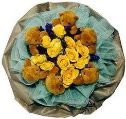 6 adet pelus ayicik 12 adet yapay gül buketi  Gölbaşı çiçekçi güvenli kaliteli hızlı çiçek