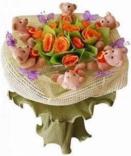 6 adet pelus ayicik 12 adet yapay gül buketi  Gölbaşı çiçek gönder cicekciler , cicek siparisi