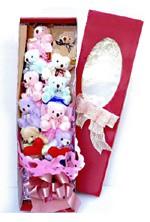 Kutu içerisinde renkli 10 pelus ayicik  Gölbaşı çiçek siparişi yurtiçi ve yurtdışı çiçek siparişi