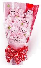 9 adet pelus ayicik buketi  Gölbaşı çiçekçi güvenli kaliteli hızlı çiçek