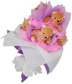 7 adet pelus ayicik buketi  Gölbaşı çiçek yolla , çiçek gönder , çiçekçi