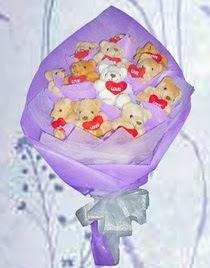 12 adet pelus ayicik buketi  Gölbaşı ucuz çiçek gönder