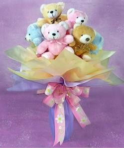 8 adet pelus ayicik buketi  Gölbaşı çiçek yolla online çiçekçi , çiçek siparişi