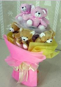 11 adet renkli pelus ayicik buketi  Gölbaşı çiçek yolla , çiçek gönder , çiçekçi