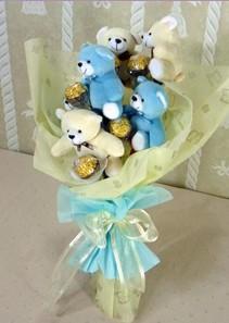 6 adet pelus ayicik buketi  Ankara Gölbaşı hediye çiçek yolla
