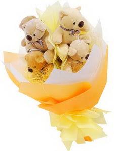 9 adet hediye ayicik bear demeti  Ankara çiçekçi Gölbaşı İnternetten çiçek siparişi