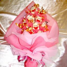 9 adet hediye ayicik bear demeti  Ankara Gölbaşı hediye çiçek yolla