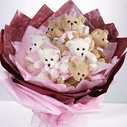 11 adet hediye ayicik teddy demeti  Gölbaşı çiçek kaliteli taze ve ucuz çiçekler