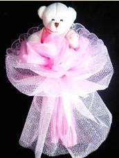 1 adet 15 cm lik oyuncak ayicik buketi  Gölbaşına çiçek , çiçekçi , çiçekçilik