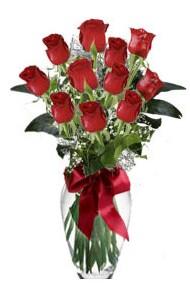 11 adet kirmizi gül vazo mika vazo içinde  Ankara Gölbaşındaki çiçekçiler ankara çiçek satışı