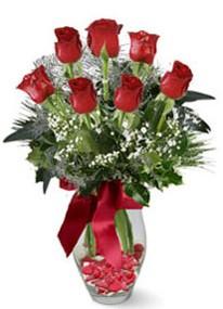 Gölbaşı çiçek yolla , çiçek gönder , çiçekçi   7 adet kirmizi gül cam vazo yada mika vazoda