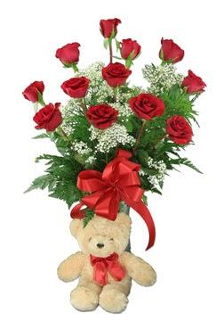 10 adet vazoda kirmizi gül ve 12 cm ayi  Ankara Gölbaşı hediye çiçek yolla