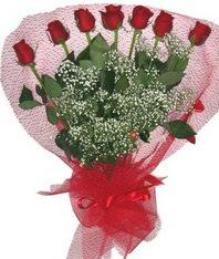 7 adet kipkirmizi gülden görsel buket  Gölbaşı çiçekçiler  çiçek siparişi sitesi