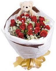 15 cm boyutlarinda ayicik ve 12 adet gül  Gölbaşı çiçekçi güvenli kaliteli hızlı çiçek