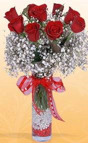 9 adet kirmizi gül cam yada mika vazoda  Gölbaşı çiçekçiler  çiçek siparişi sitesi