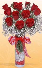 10 adet kirmizi gülden vazo tanzimi  Gölbaşı çiçekçi güvenli kaliteli hızlı çiçek