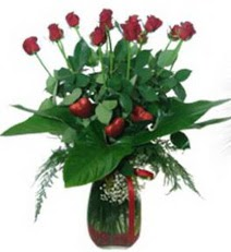 Gölbaşı çiçekçi telefonları  11 adet kirmizi gül ve 1 adet kalp çubuk