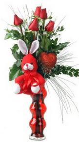 Gölbaşı çiçek yolla online çiçekçi , çiçek siparişi  Vazo içinde 5 adet gül ( pelus kalp çubuk )