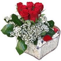 çiçek siparişi Gölbaşı çiçekçiler  kalp mika içerisinde 7 adet kirmizi gül
