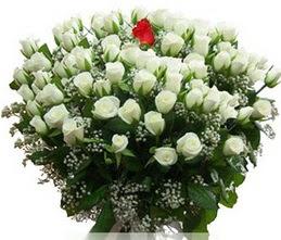Gölbaşı çiçek siparişi yurtiçi ve yurtdışı çiçek siparişi  100 adet beyaz 1 adet kirmizi gül buketi
