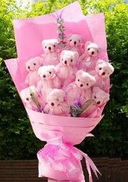 12 adet pelus ayiciktan ayi buketi  Gölbaşı çiçekçi güvenli kaliteli hızlı çiçek