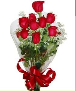 Gölbaşı çiçekçi telefonları  10 adet kırmızı gülden görsel buket