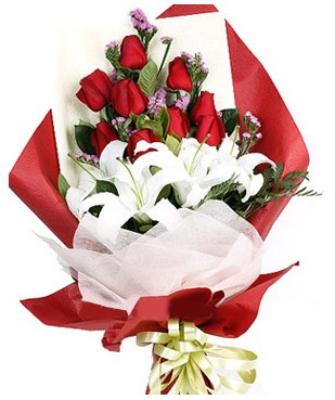 Gölbaşı çiçek yolla online çiçekçi , çiçek siparişi  1 dal kazablankaa 9 adet kırmızı gül buketi