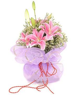 3 dal kazablanka görsel buketi  Gölbaşı çiçek siparişi yurtiçi ve yurtdışı çiçek siparişi