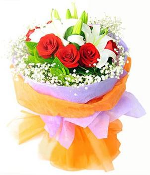 Gölbaşı çiçek gönder cicekciler , cicek siparisi  1 dal kazablanka 7 adet kırmızı gül buketi