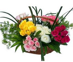 Gölbaşı ankara çiçek servisi , çiçekçi adresleri  35 adet rengarenk güllerden sepet tanzimi