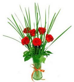 Gölbaşı çiçek online çiçek siparişi  6 adet kırmızı güllerden vazo çiçeği