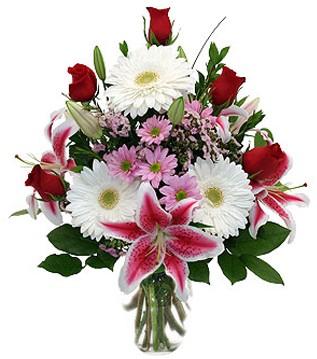 Gölbaşı çiçekçiler  çiçek siparişi sitesi  1 dal kazablanka 5 gül ve kırçiçeği vazosu