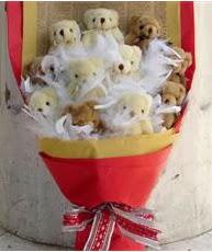 Gölbaşı çiçek siparişi yurtiçi ve yurtdışı çiçek siparişi  11 adet peluş ayıdan ayı buketi