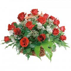 sepet içerisinde 14 adet kırmızı gül  Gölbaşı çiçek yolla online çiçekçi , çiçek siparişi